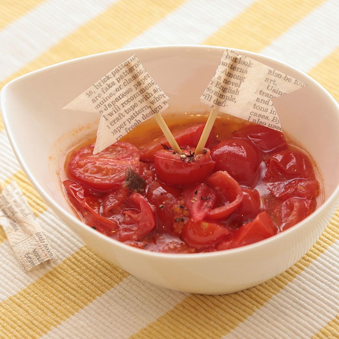 レンジで簡単、5分で完成「プチトマトのアンチョビのおつまみ」