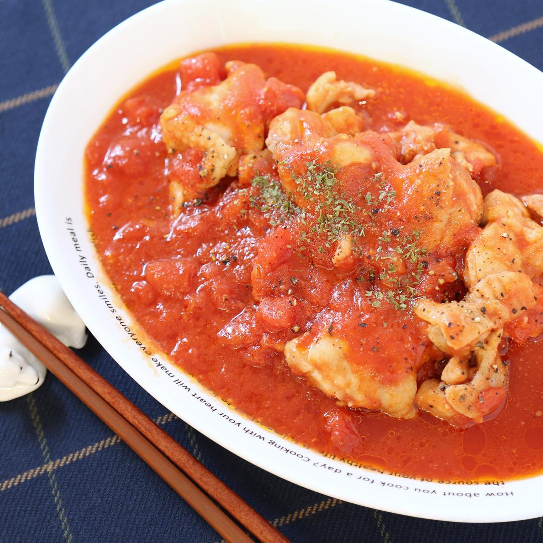 レンジで簡単、15分で完成「鶏もも肉のトマト煮」@ズボラ飯