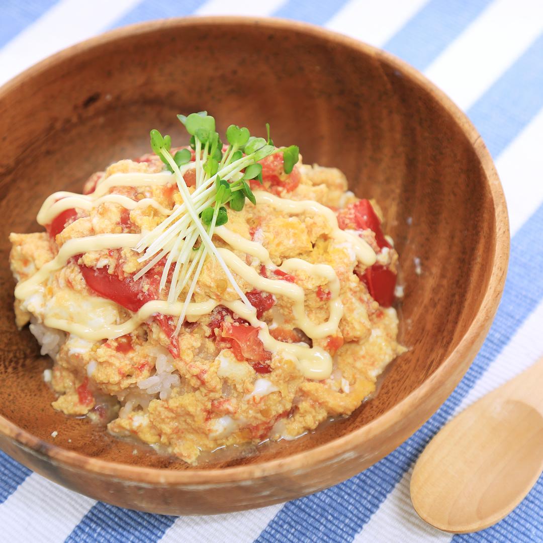 レンジで簡単、8分で完成「トマたま丼」@ズボラ飯