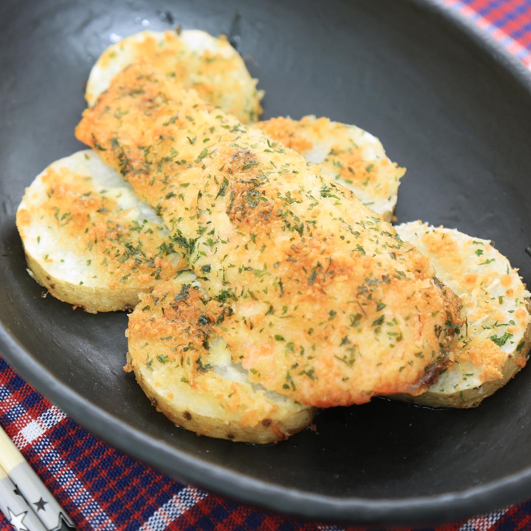 トースターで簡単、20分で完成「鮭と長芋のパン粉焼き」