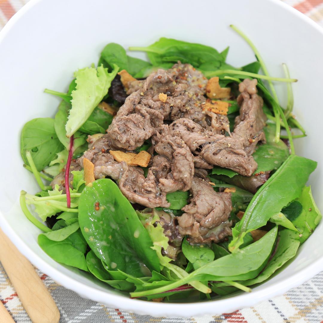 レンジで簡単、5分で完成「牛肉のおしゃれサラダ」@ズボラ飯