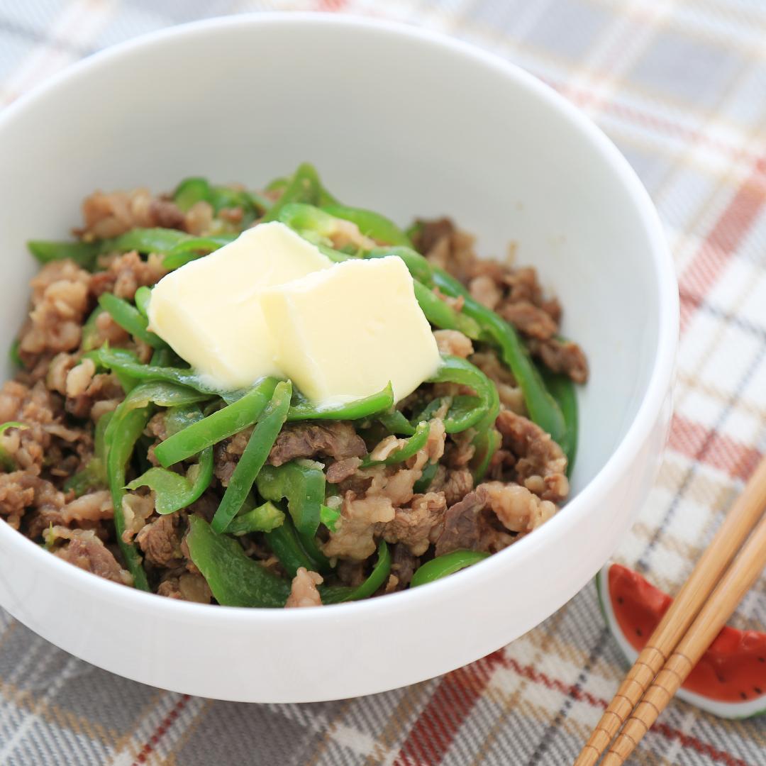 レンジで簡単、7分で完成「牛バタピー丼」@ズボラ飯