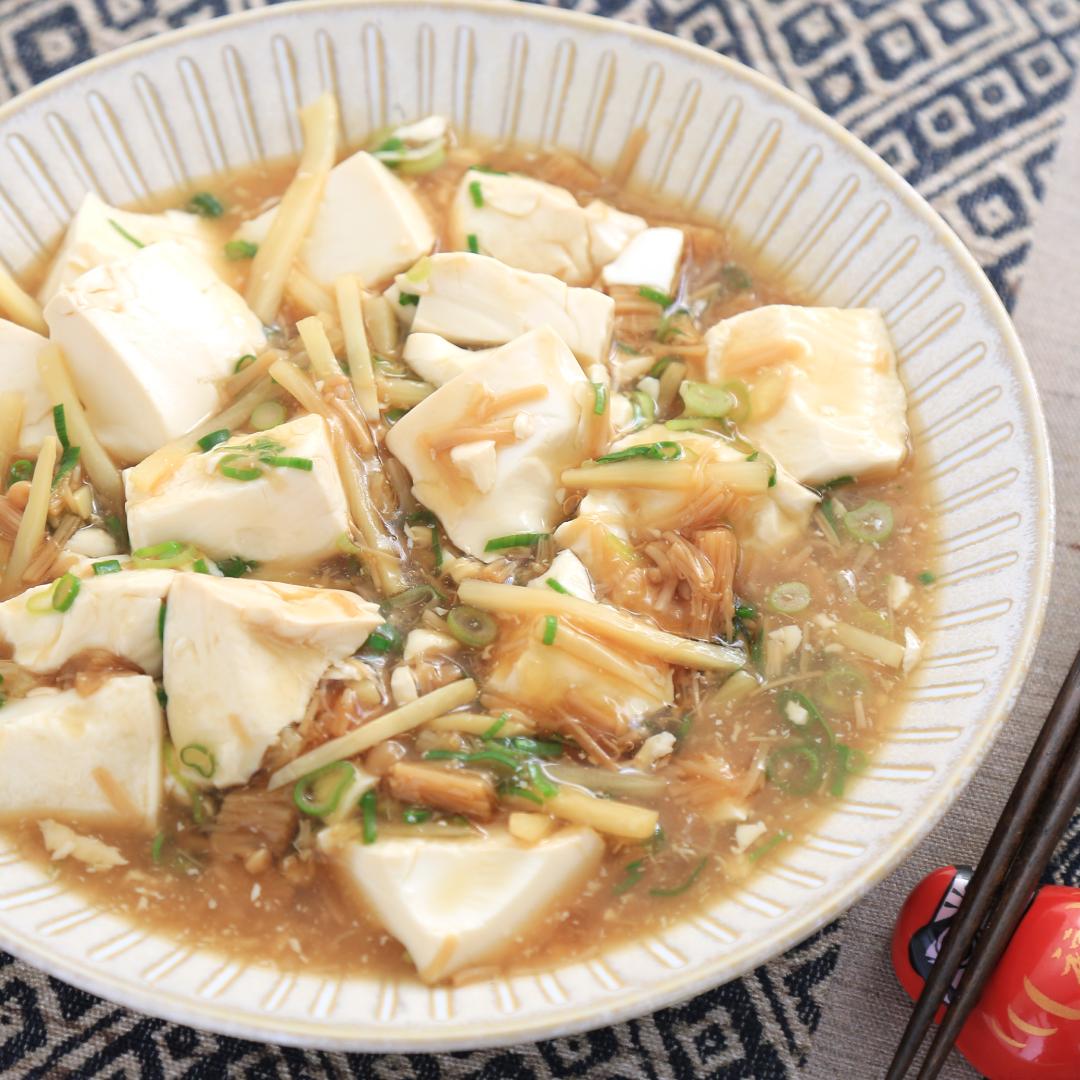 電子レンジで簡単、8分で完成「豆腐となめたけとたけのこのあったか煮」@ズボラ飯