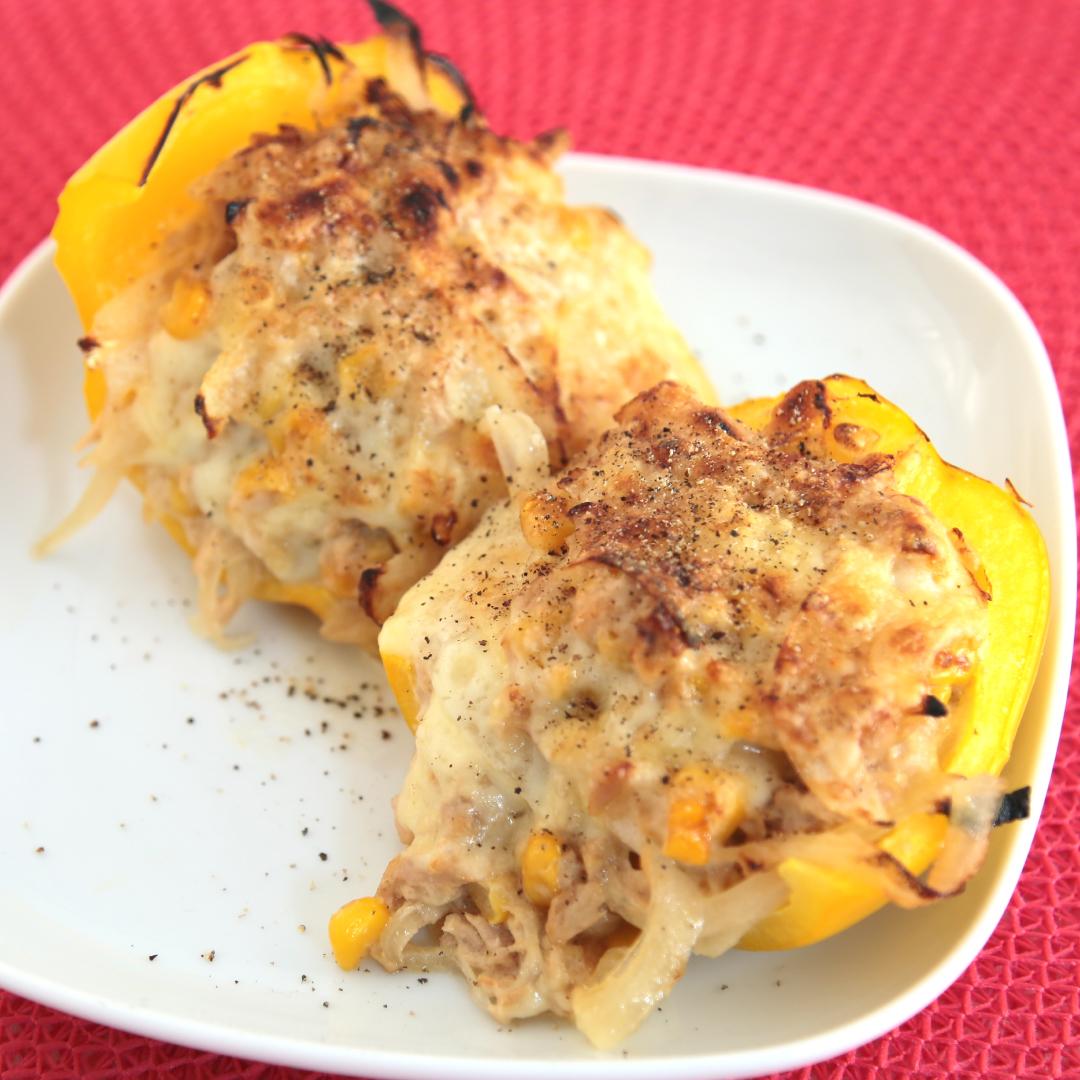 トースターで簡単、10分で完成「ツナとコーンと玉ねぎのパプリカボード」@ズボラ飯