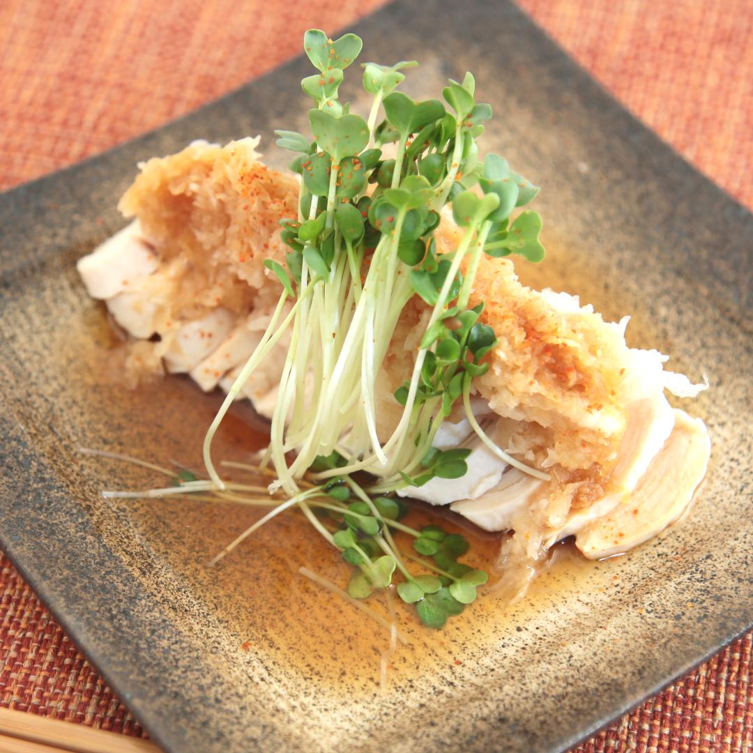 電子レンジで簡単、5分で完成「サラダチキンのダイエットおろしポン酢」@ズボラ飯