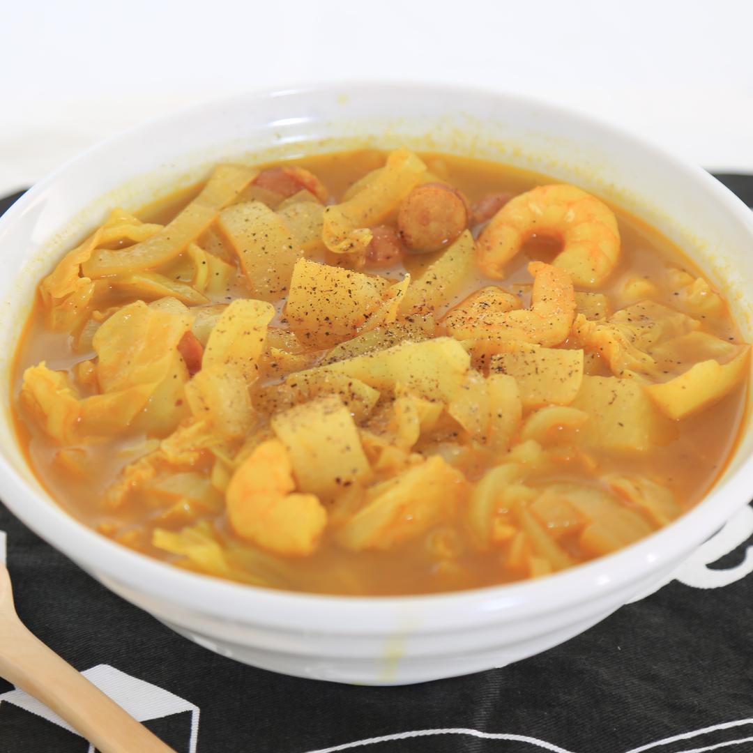 電子レンジで簡単、30分で完成「あまり野菜のカレーコンソメスープ」@ズボラ飯